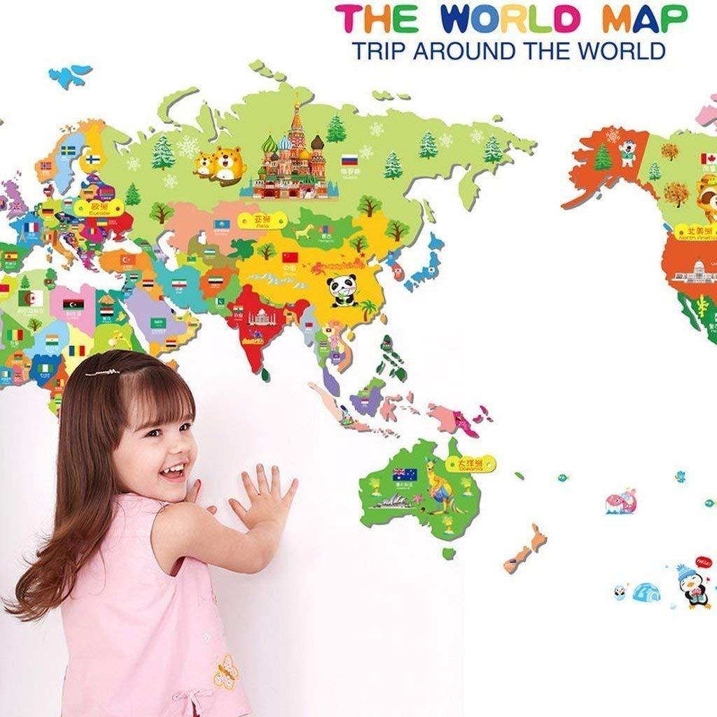 World Map Wall Decal Kids.Amazon Com Kids Educational World Map Wall Decor Sticker Wall Decal
