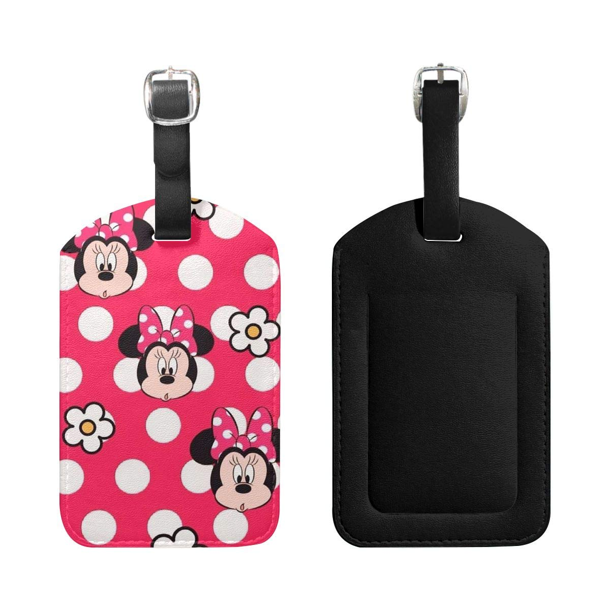 PU Leather Luggage Tags Minnie Mouse with Flower Suitcase Labels Bag Adjustable Leather Strap Travel Accessories Set of 2