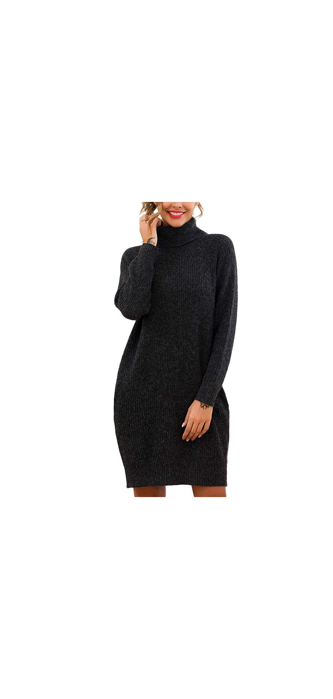 Women's Loose Turtleneck Long Sleeve Knit Pullover Dress