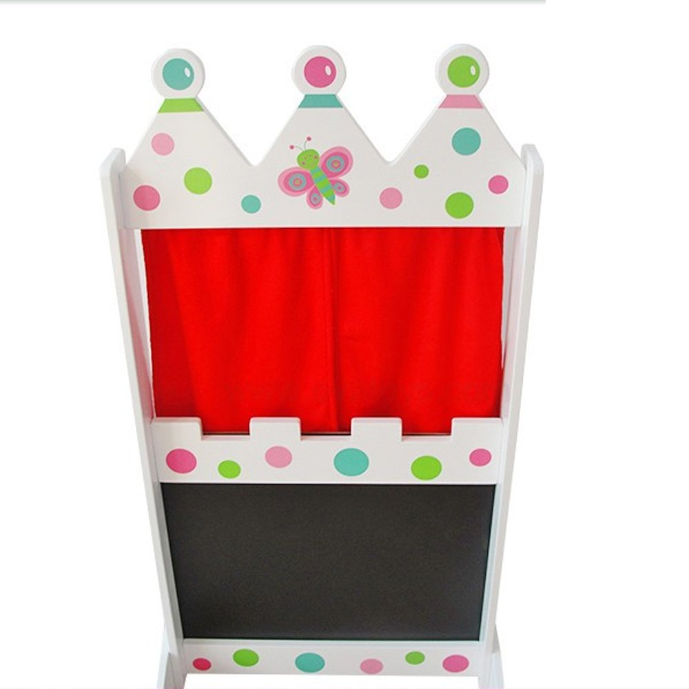 london-kate Deluxe PUPPET THEATER STAGE Booth - Sturdy Wooden Construction with Silk Screen and Chalkboard