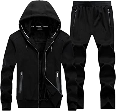 Real Spark Mens Athletic Jogger Plaid Casual Sweat Suit Sport Tracksuit Activewear