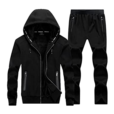 d4a7936e Real Spark Men's Athletic Zipper Velvet Tracksuit Sport Set Casual Hoodie  Sweat Suit Black XS