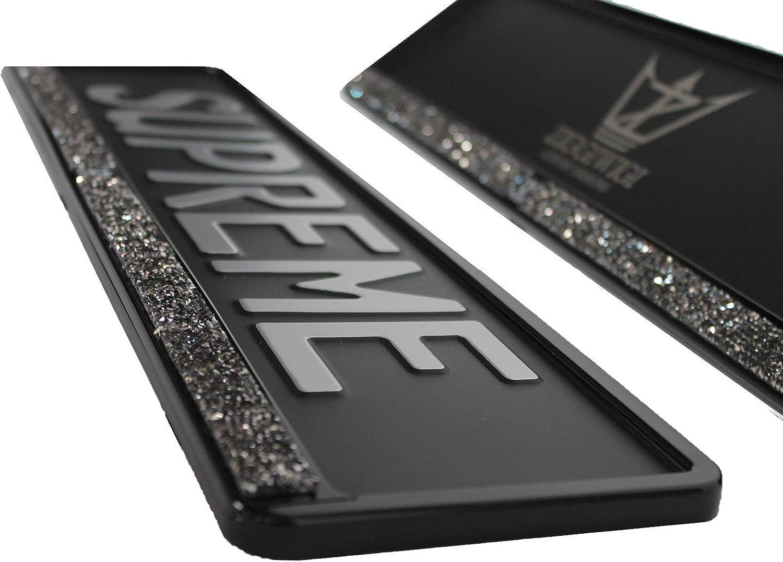 2 Stück Kennzeichenhalter Ziggiwigi Luxury Designs Strass Schwarz Hochglanz Lack Platin Black Auto
