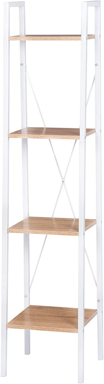 eSituro Heavy Duty 4-Tier Storage Shelves Ladder Bookshelf Industrial Bookcase Shelving Unit Stand with White Metal Frame Light Oak Wooden Shelves 34x35x148CM SSTR0041