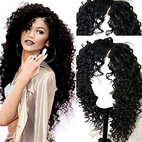 Costumes Halloween Male Pinterest (Long Kinky Curly Synthetic Lace Front Wigs for Women L Part Heat Resistant Synthetic Fiber Hair Natural Artificial)
