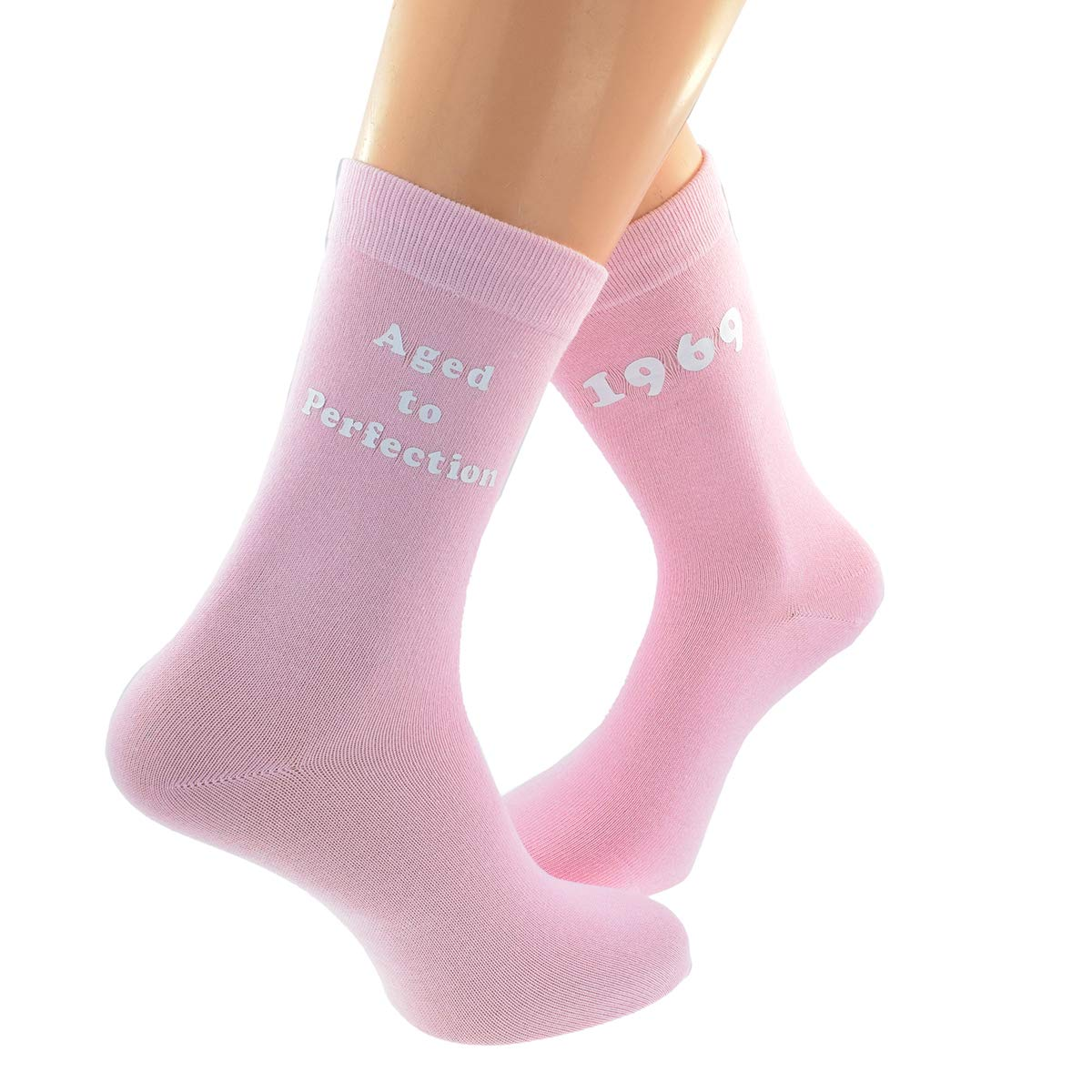 Aged to Perfection 1969 Printed on PINK Womens Socks for 50th Birthday Present 2019