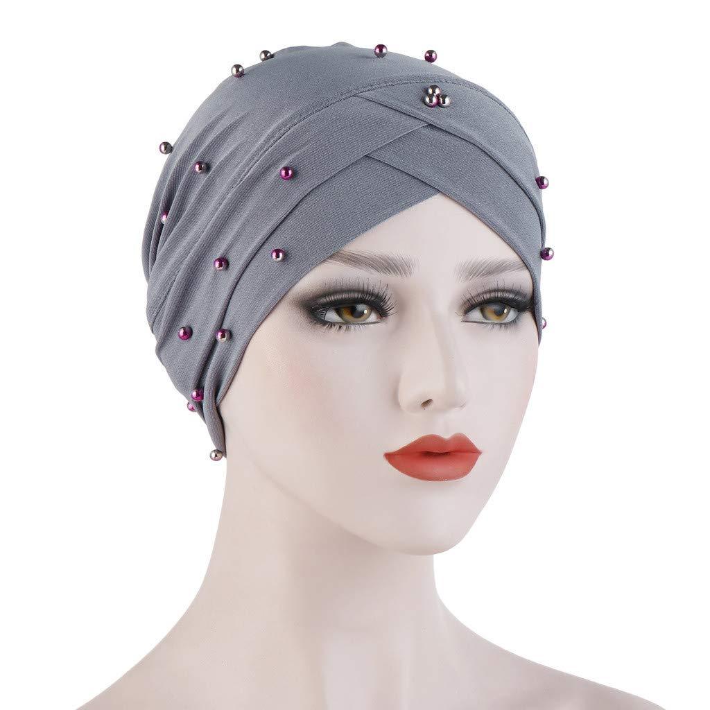 Harpily Copricapo Chemioterapia Donna Perline Copricapo Ragazza Chemio Turbante Strass Bandana Vintage Cappello Estivo Elegante Headwear Turban Hijab Headband