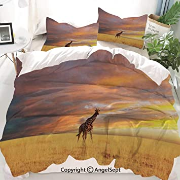 Amazoncom Homenon Giraffe Decor Duvet Cover Set Queen Size