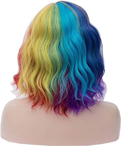 OYIXU Peluca de pelo corto de 40 cm, color morado sintético ...