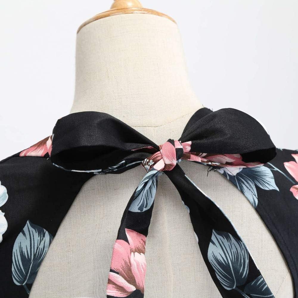 HZD Femmes Robe Vintage Cou chérie Demi-Manches balançoire imprimé Floral Bowknot Robes Pink