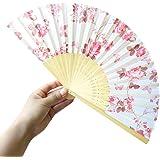 Zarupeng Bambus Faltbar Handfächer, Blumen Muster Spitze Fächer Silk faltender Hand-Fans, Tanz Hochzeits Partei Tuch Dekoration (One Size, B)