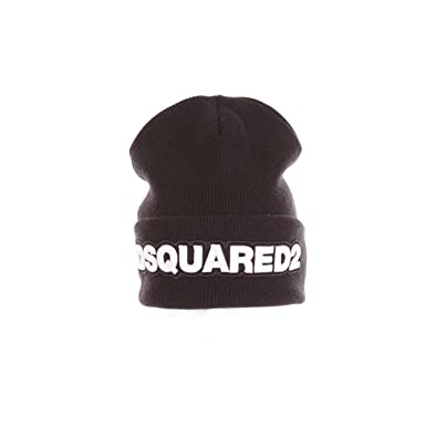 95d7b35b0 DSquared Embroidered Wool Beanie Hat Black One: Amazon.co.uk: Clothing