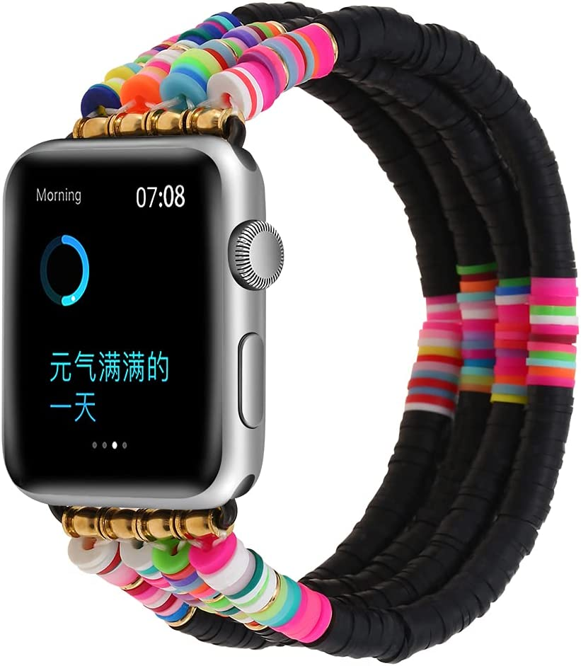 Betykuku Compatible with Apple Watch Bands 42mm/44mm Series 5/4 Women Girl, Cute Handmade Fashion Stack Rainbow Vinyl Disc Bead Compatible for Apple iWatch Series 5/4/3/2/1(Black, 42/44)