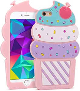 for iPhone 6 Plus / 6S Plus Case Ice Cream for Girls Teens Kids, Cute 3D Cartoon Funny Kawaii Cupcake Ice Cream Soft Silicone Rubber Phone Cover Case for iPhone 6 Plus/ 6s Plus (5.5 inches)