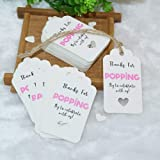 Gift Tags Thanks for Popping by to Celebrating with Us,100Pcs Paper Hang Tag for Wedding,Baby Shower Party Favors with 100 Feet Jute Twine