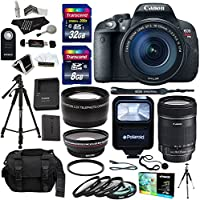 Canon EOS Rebel T5i Digital SLR Camera Body with EF-S 18-135mm IS STM 0.45X wide angle Lens and 2.2X Telephoto Lens Bundle with Accessories (19 Items) Basic Intro Review Image