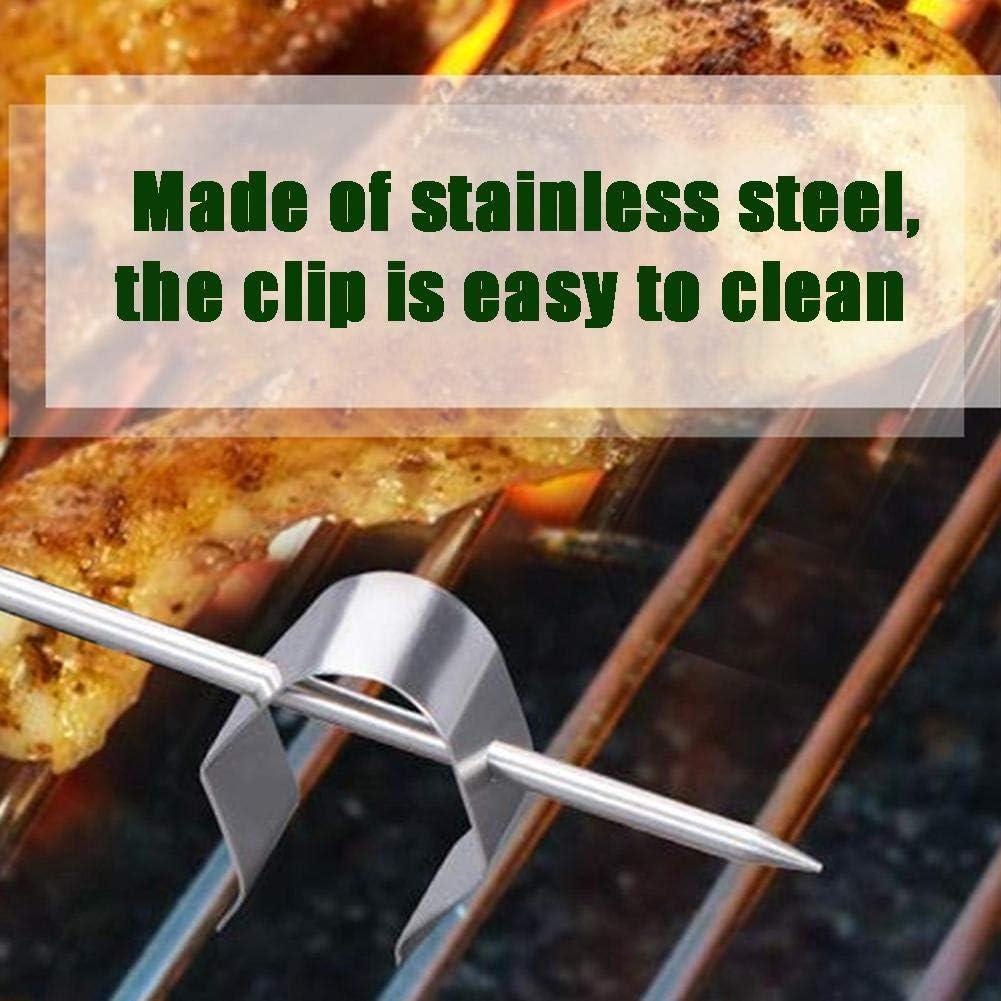 Energeti Universal Meat Grill Termómetro Sonda Clip Holder para lecturas de temperatura ambiente de BBQ Smoker Oven Grill (Plata)