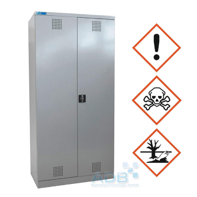ADB Umweltschrank Gefahrstoffschrank Pflanzenschutzschrank Chemikalienschrank Spritzmittelspind RAL 7035 195 x 95 x 50 cm H x B x T Lichtgrau