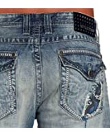Affliction Men's Relaxed Straight Grant Cutout Fleur Flap Pockets Jeans