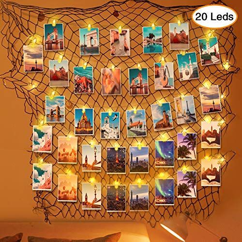 Amabana Photo Hanging Display Frames 20LEDs Photo Clip String Lights, Fishing Net Wall Decor, Picture Frame Holder Artworks Photos Organizer, Nautical Theme Fish Net for Dorm Home Party Decoration]()