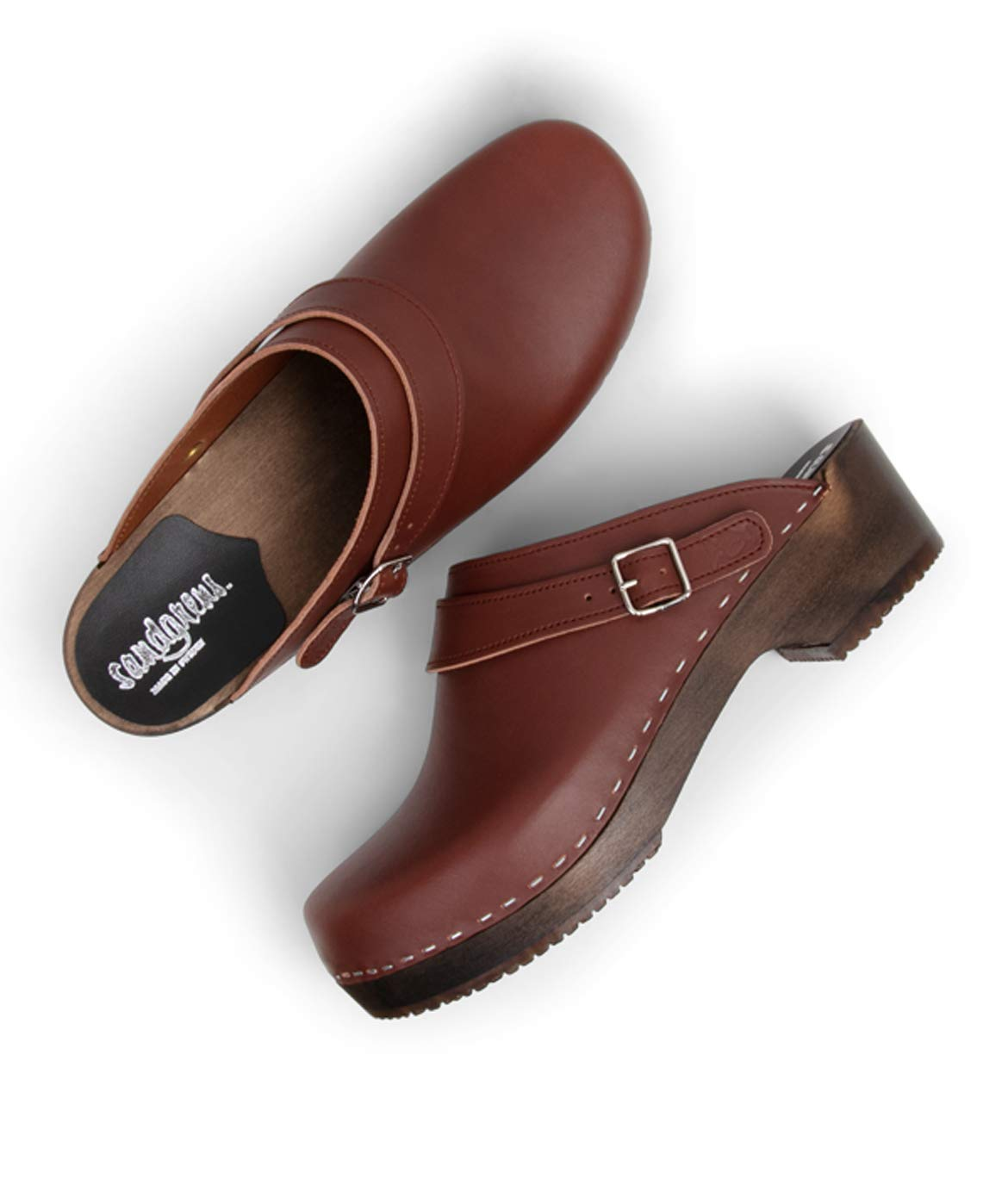 Sandgrens Swedish Wooden Clogs for Men with Leather Upper | Nybro (Dark Base) Cognac, EU 44 by Sandgrens (Image #3)