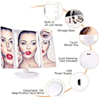 Vanity Mirror 10x Magnifying Glass 24 LED lighted Makeup Mirror With Magnification Trifold magnify mirror with light 2x 3x 10x Touch Screen, 180 Adjustable Mirror USB Charging Free Rotation Table Countertop Cosmetic Mirror