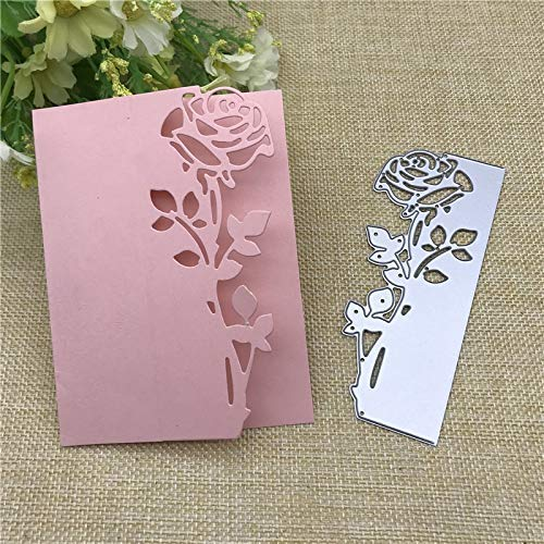 Card Templates Craft (4.6x1.8inch 2019 Rose New Die Cuts Metal Cutting Die Craft Die Embossing Stencil Template for Scrapbooking Card Making DIY Invitation)