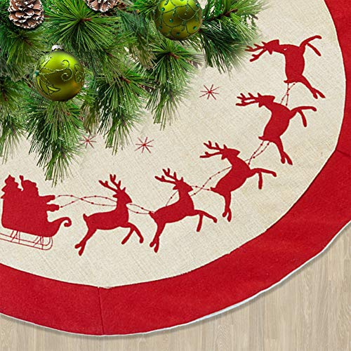 Juegoal 48 Inches Burlap Christmas Tree Skirt, Rustic Tree Mat with Double Layers, Christmas Tree Holiday Decoration