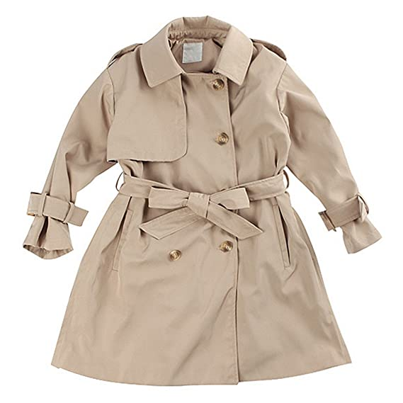 4f8d4c96d372 LJYH Big Girl s Classic Double Breasted Trench Coat With Belt ...