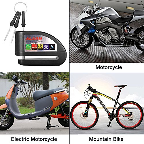 ILamourCar Disc Brake Lock,Alarm Disc Lock,Motorcycle Bike Anti-theft&Waterproof Brake Disc Wheel Alarm Security Lock,110dB Alarm Sound and 6mm Pin with 1.3m Reminder Cable for Motorcycles - Black by ILamourCar (Image #5)