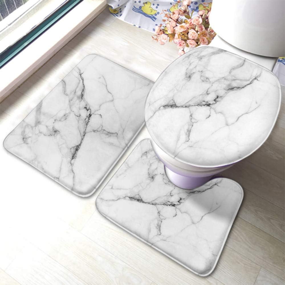 Swono Marble Bath Mat 3 Piece Set,White Marble Sanstone Patterned Bathroom Antiskid Pad Doormat and Toilet Lid Cover Non-Slip Set