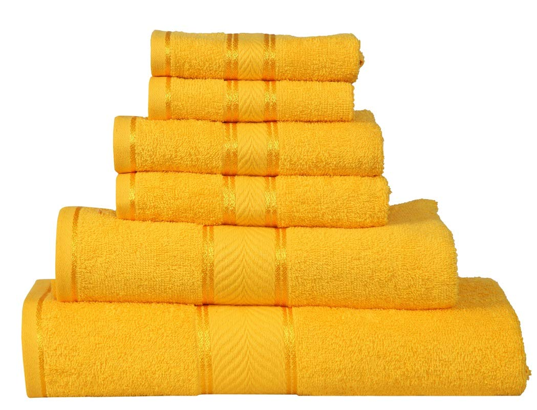 Divine Elegance - 100% Cotton, Soft, Extra Absorbent, Quick Dry & Durable, 450 GSM, 6 Piece Towel Set (2 Bath Towels 2 Hand Towels 2 Face Towels) - Vibrant Yellow