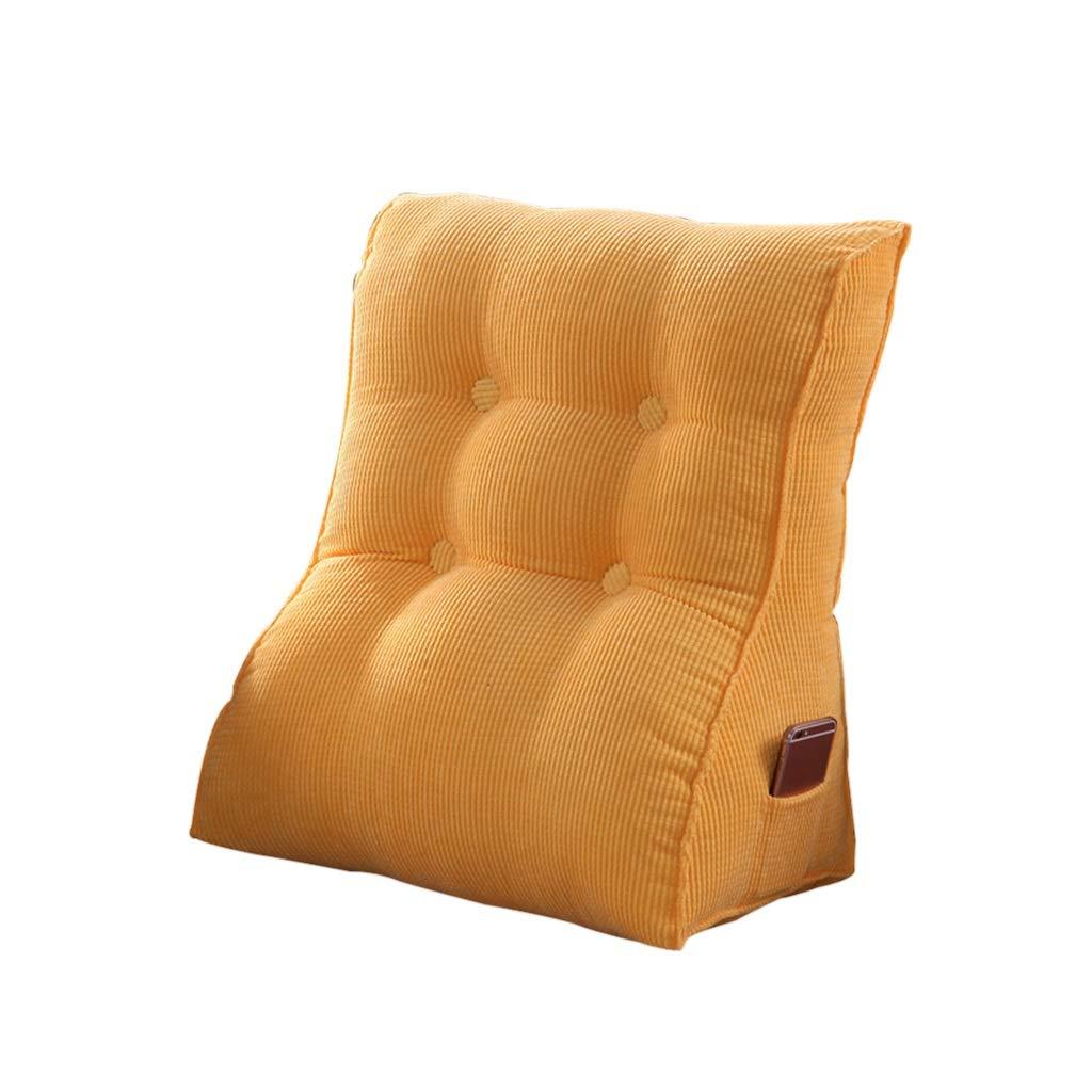 DUHUI Bett Wedge, Wedge für Wohnzimmer und Schlafzimmer, Sleeping Wedge, zur Entlastung der Wirbelsäule, Stillkissen zum Liegen und Sitzen (Farbe : Gelb, größe : 60x55x30cm)