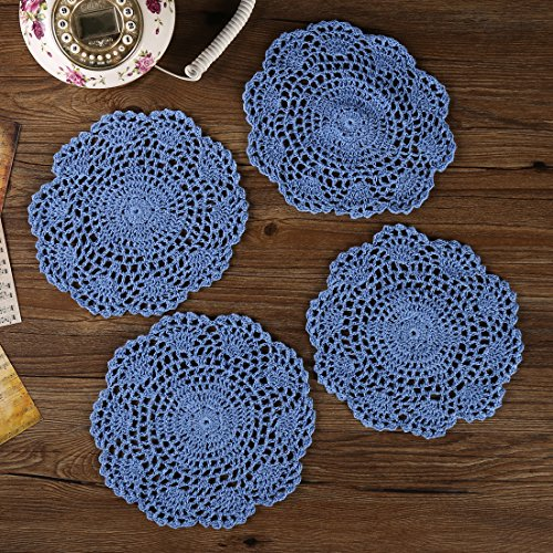 ZORJAR Placemats Round Table Mats Cotton Handmade Crochet Lace Washable 7 Inch Set of 4(Light (Light Blue Placemat)