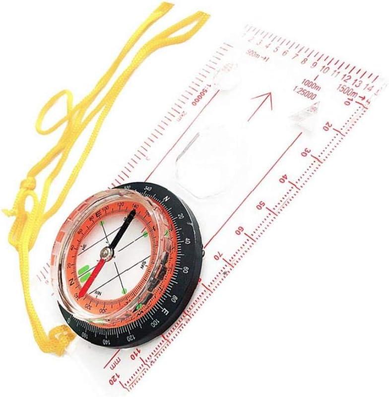 Boussole Pratique ext/érieure R/ègle Multi Utilisation Compass Map Scale avec Longe Carte Compass Explorateur