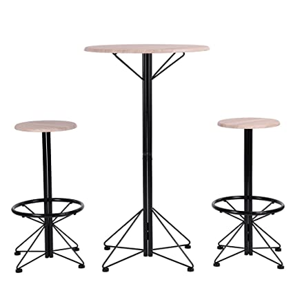 Amazon Com Furniturer Bar Table And Chairs Set Of 3 Wooden Round