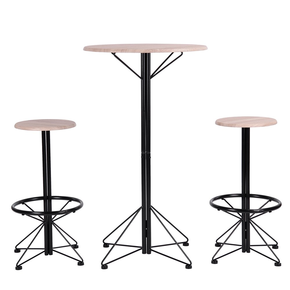 DORAFAIR Vintage Style Bar Table Set - 9 Round Bar Table and 9 Stools, Home  Kitchen Breakfast Bar Set High Table Furniture Dining Set, MDF+BLACK