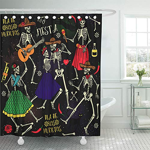 Emvency Shower Curtain Set Waterproof Adjustable Polyester Fabric Red Day Skeletons Dia De Los Muertos The Dance Part Two Mexico 66 x 72 Inches Set with Hooks for Bathroom ()