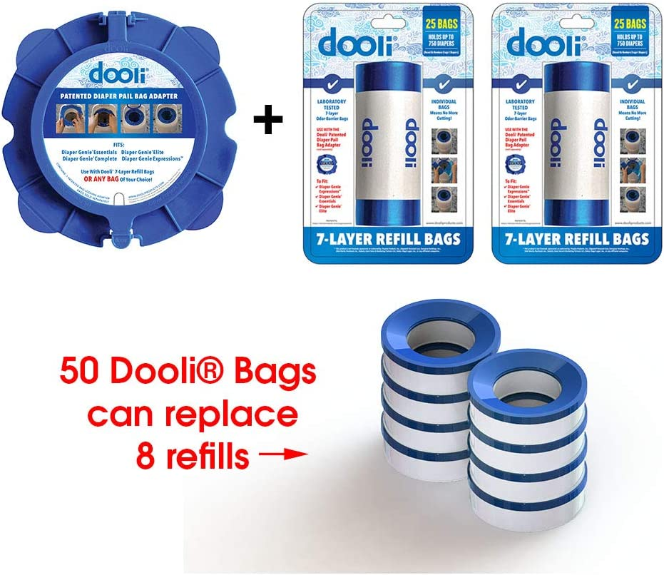 Equals 8+ Name Brand Refills Holds up to 1500 Diapers Diaper Genie Compatible Bag Adapter and 50 Bag Refills