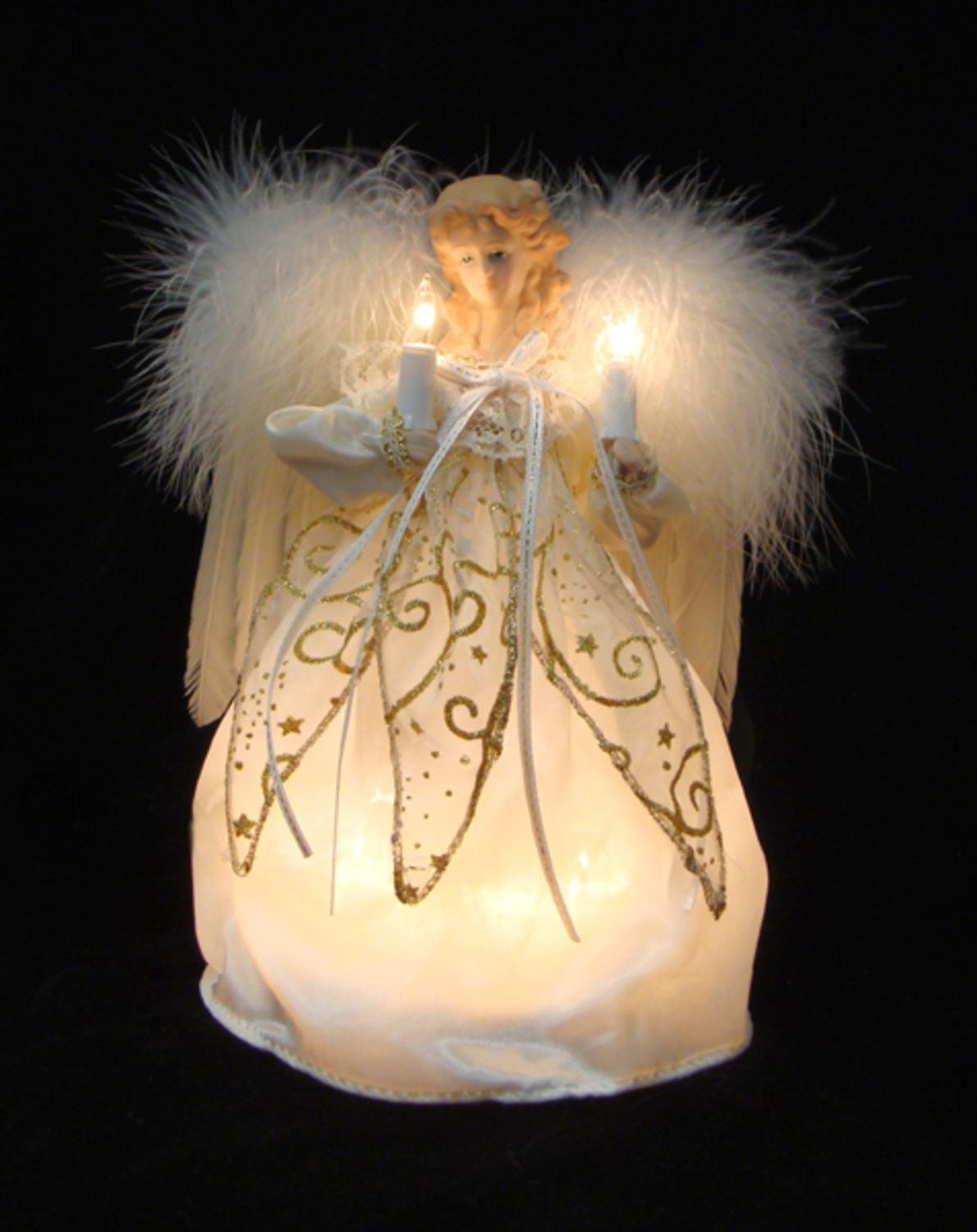 KSA 9'' Ivory and Gold Angel with Feather Wings Christmas Tree Topper - Clear Lights