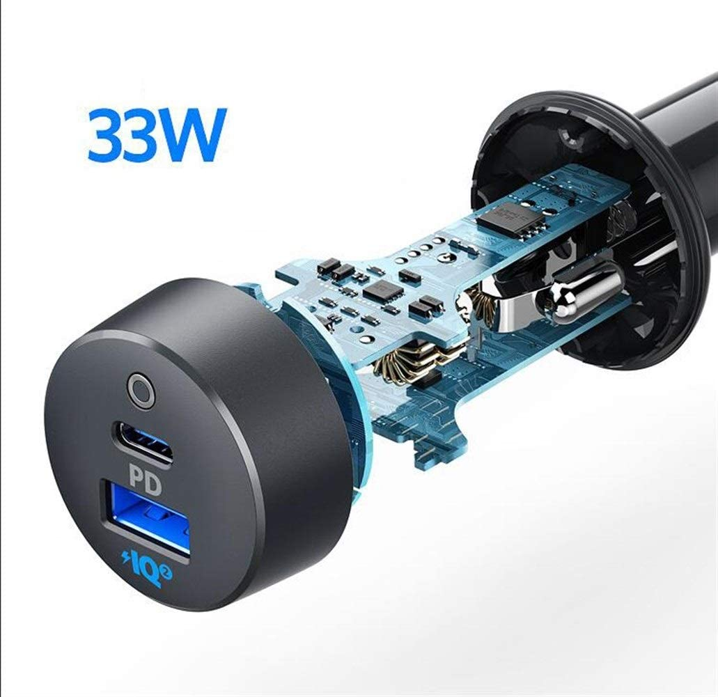 8HAOWENJU PD33W Fast Charge Car Charger, One for Two Smart Car Charger, Black (Color : Black) 51CP-KfhgGLSL1001_