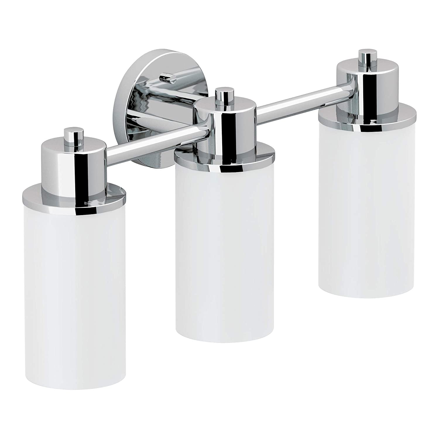 Moen DN0763CH Iso 3-Light Dual-Mount Bath Bathroom Vanity Fixture with Frosted Glass, Chrome