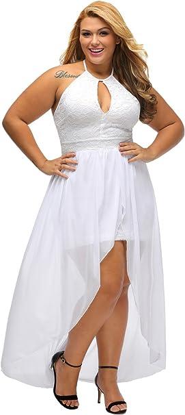 LALAGEN Women\'s Plus Size Halter White Lace Wedding Party Dress Maxi Dress