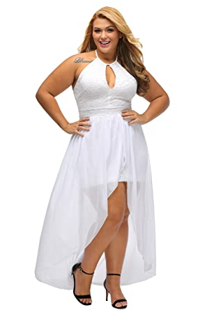 Lalagen Women's Plus Size Halter White Lace Wedding Party Dress ...