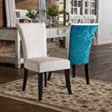 Christopher Knight Home 295290 Stanford Dining Chair (Set of 2), Ivory and Teal For Sale