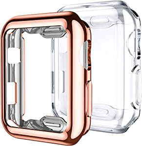 Mastten 2-Pack 38mm Case Compatible for Apple Watch Screen Protector, Full Protective Case TPU HD Ultra-Thin Cover Compatible for iWatch Series 3 2 1, Rose Gold, Clear