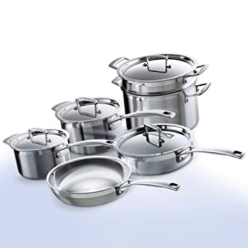 Le Creuset Tri Ply Stainless Steel Cookware Set, 10 Piece