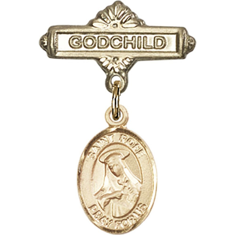 Gold Filled Baby Badge with St. Rose of Lima Charm and Godchild Badge Pin 1 X 5/8 inches
