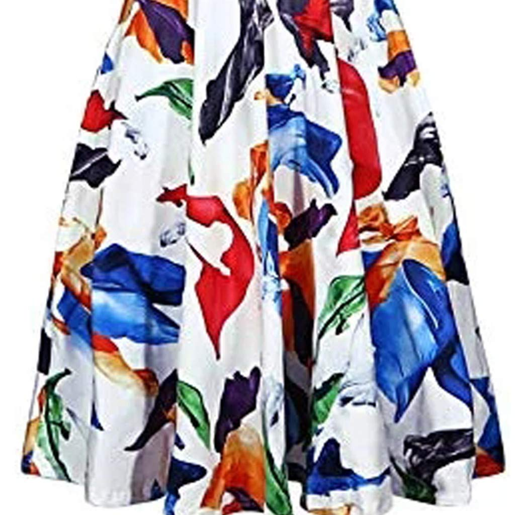 Swiusd Women Retro Floral Print A Line Midi Dresses Vintage Short Sleeve V Neck Swing Beach Party Sun Dresses Clearance