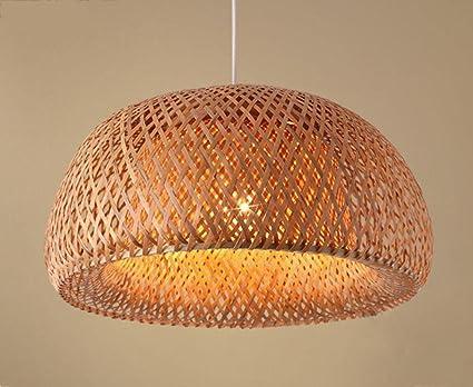 GFFORT Lámpara de techo de bambú lámparas de salón de té luz ...